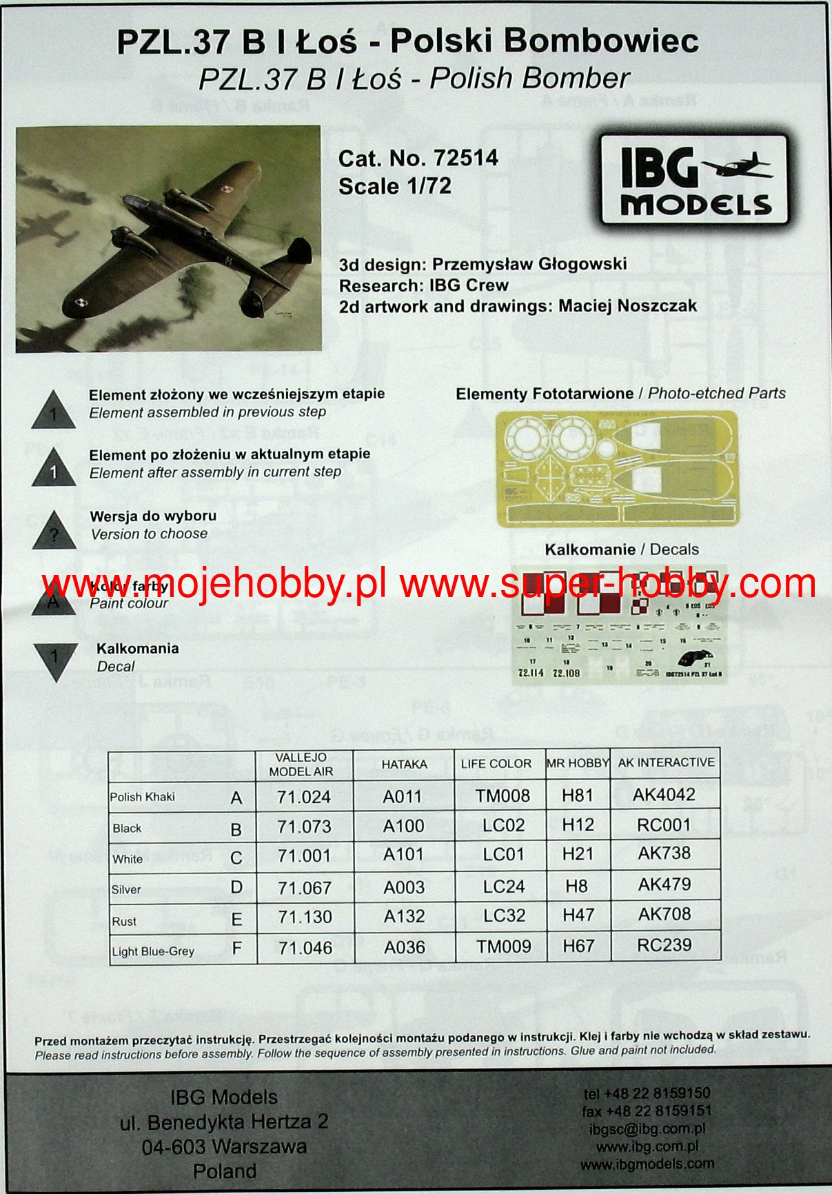 IBG 72514  PZL.37 B I Łoś Polish Medium Bomber