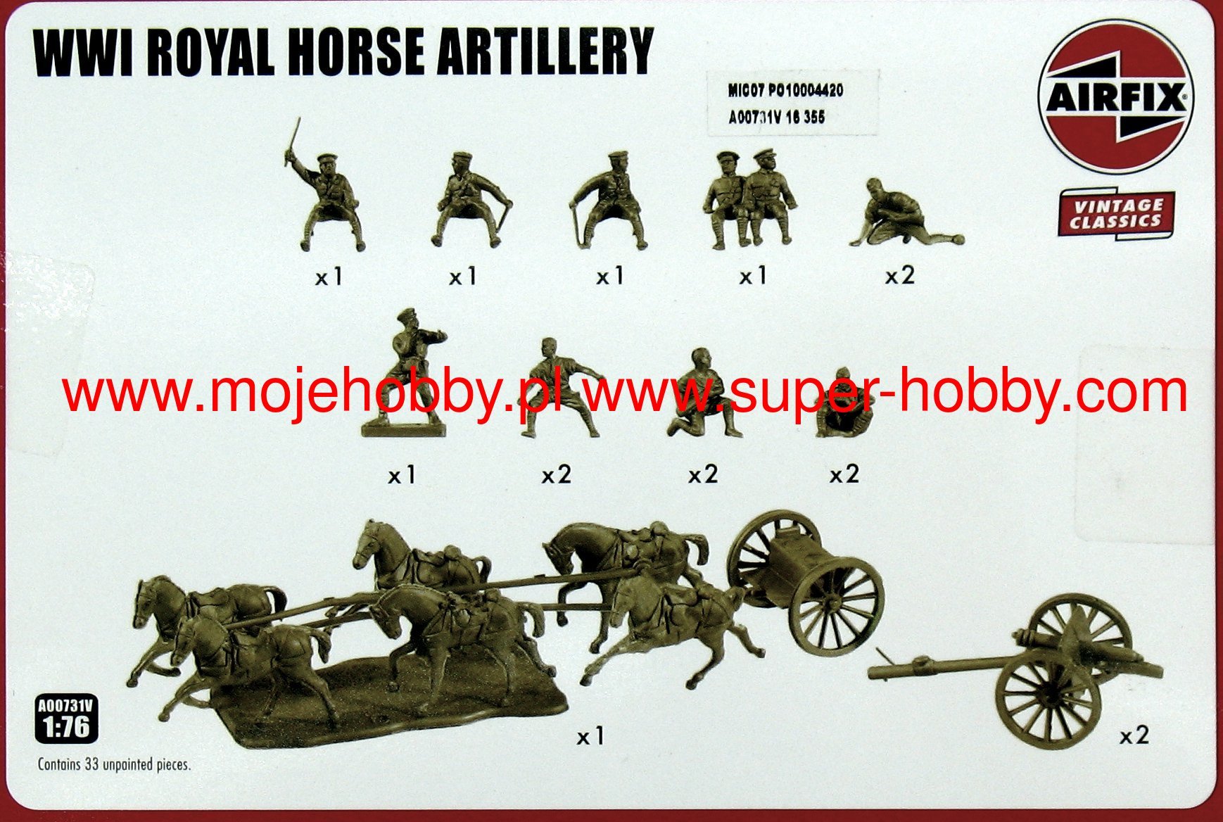 1//76 Scale Airfix 0731 WW1 British Royal Horse Artillery