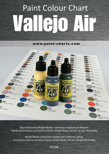 paint colour chart - vallejo air 12mm pjb