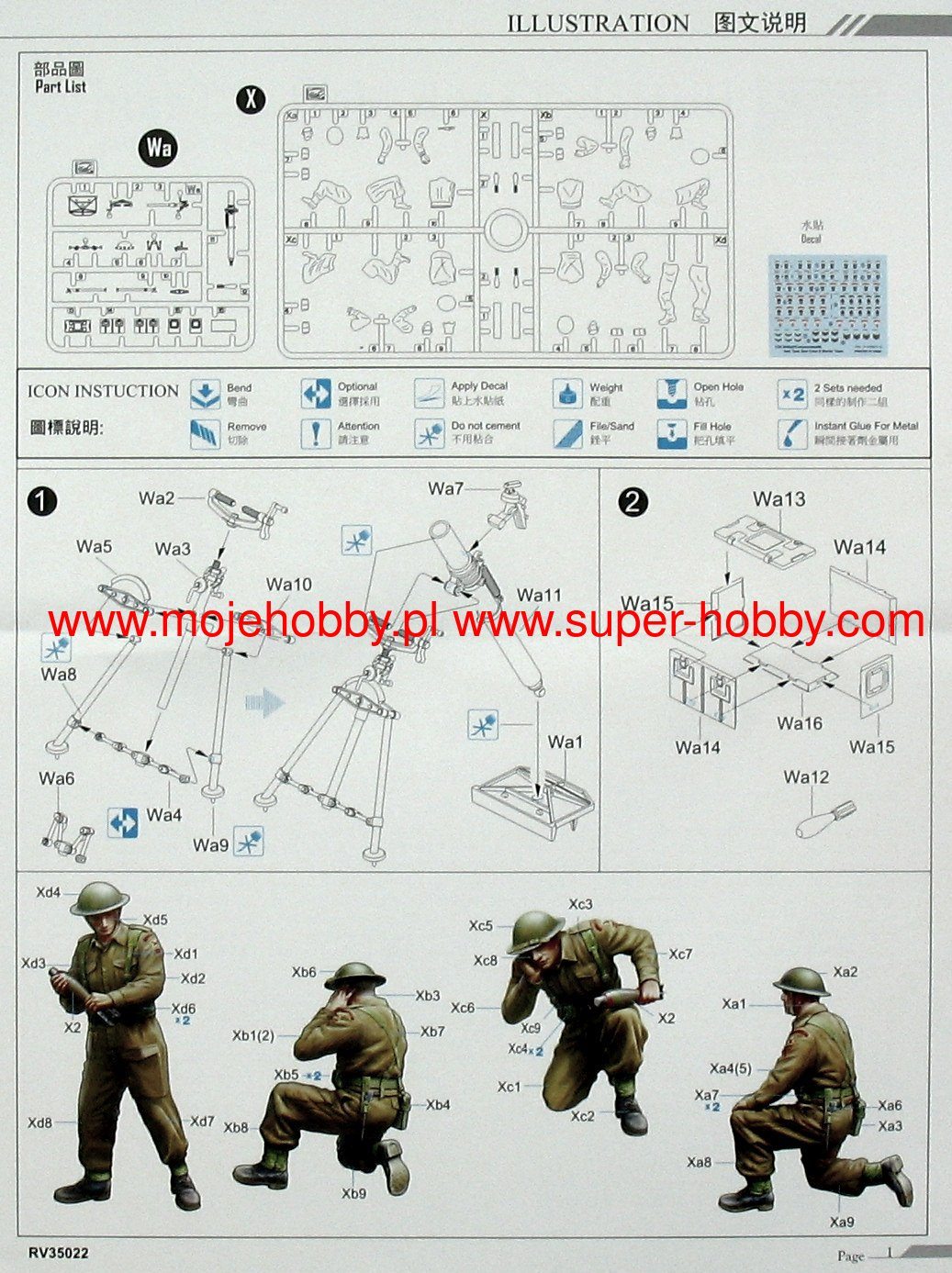 North West Europe Riich Models RV35022-1//35 British 3 inch Mortar Team set