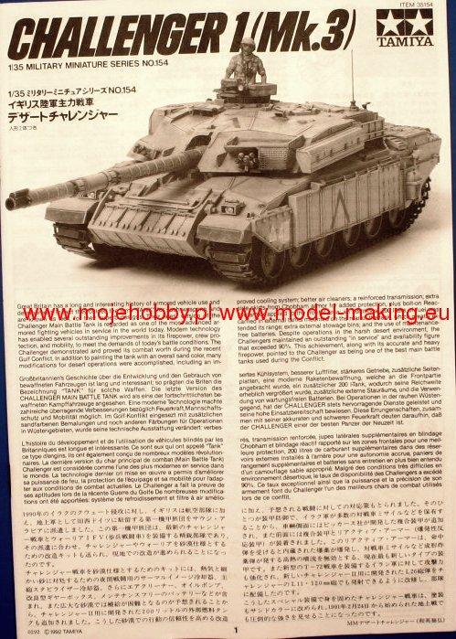 3 Mk Challenger 1 1:35 British Main Battle Tank Tamiya 35154