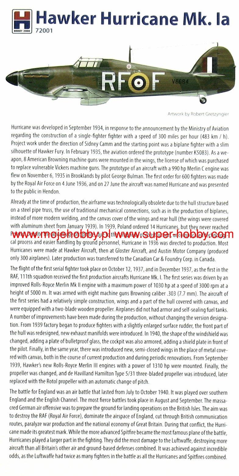1//72 HOBBY2000 HURRICANE Mk.IA /'BATTLE OF BRITAIN/' URBANOWICZ, FRANTISEK, KENT