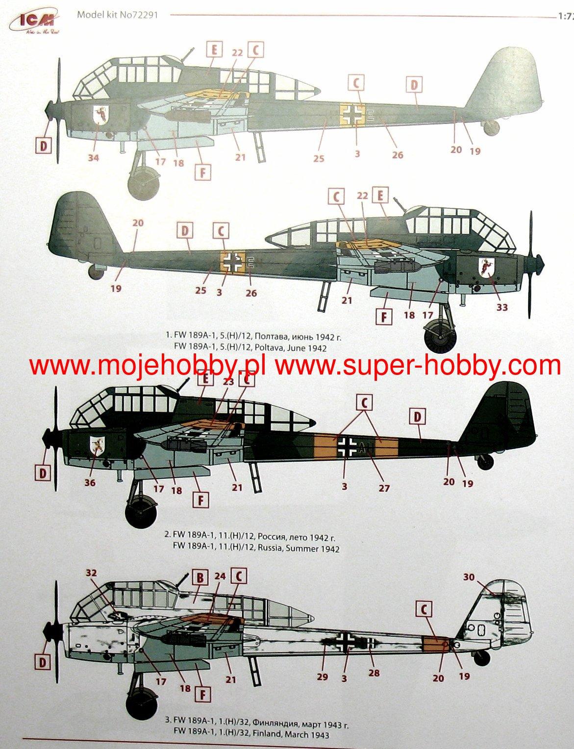 fw 189a-1 ww2 german reconnaisance plane icm 72291
