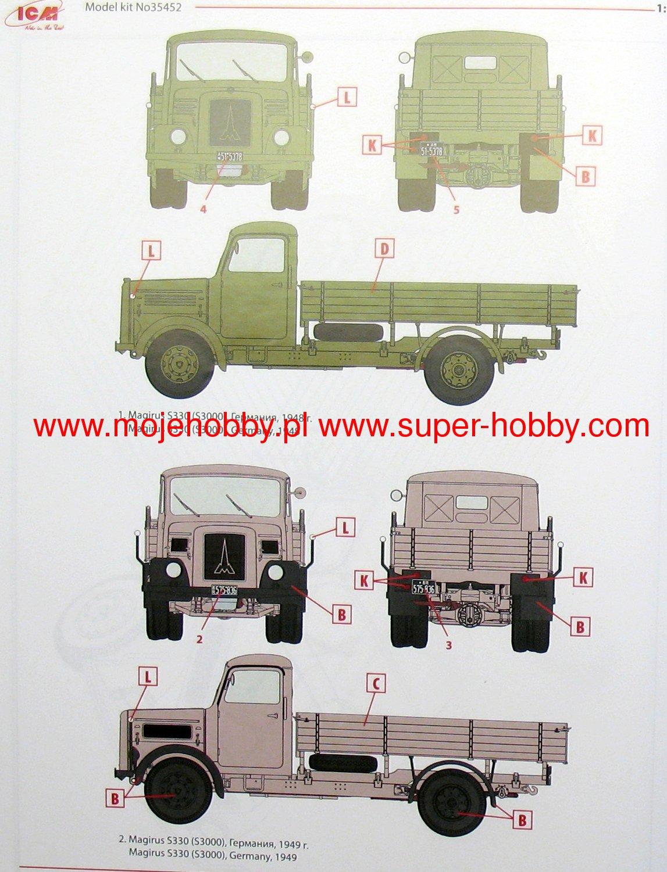 1949 Production # 35452 ICM 1//35 Magirus S330 German Truck