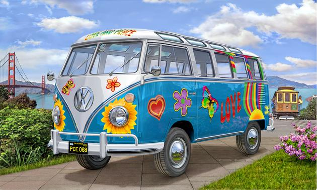 vw t1 samba bus flower power revell 07050. Black Bedroom Furniture Sets. Home Design Ideas
