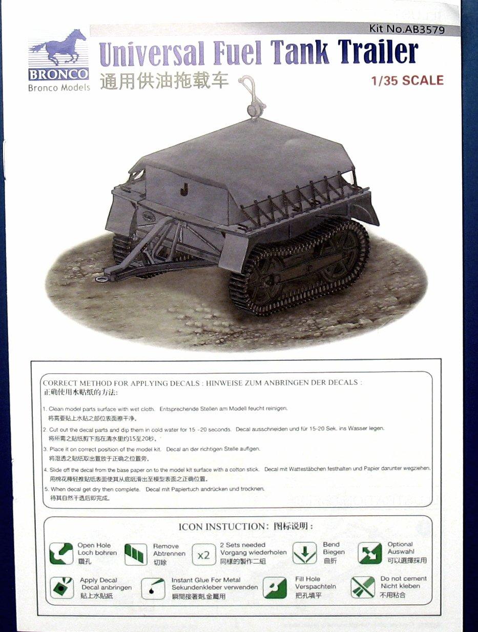 Neu Bronco Ab3579-1//35 WWII Dt Universal Fuel Tank Trailer