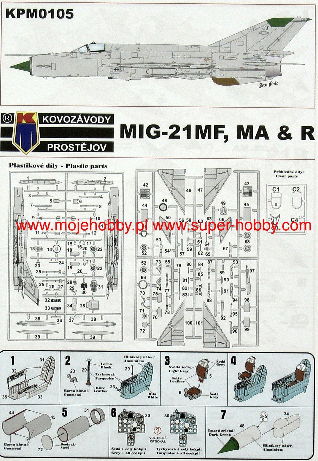 """Kovozavody Prostejov 1//72 Mikoyan MiG-21 /""""Joy Pack/"""" # 72105"""