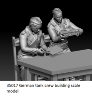 German tank crew building scale model - Image 1